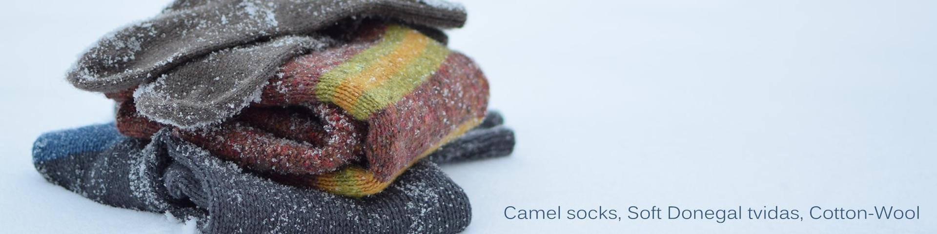 KATIA Camel Socks, Soft Donegal tvidas, Cotton-Wool