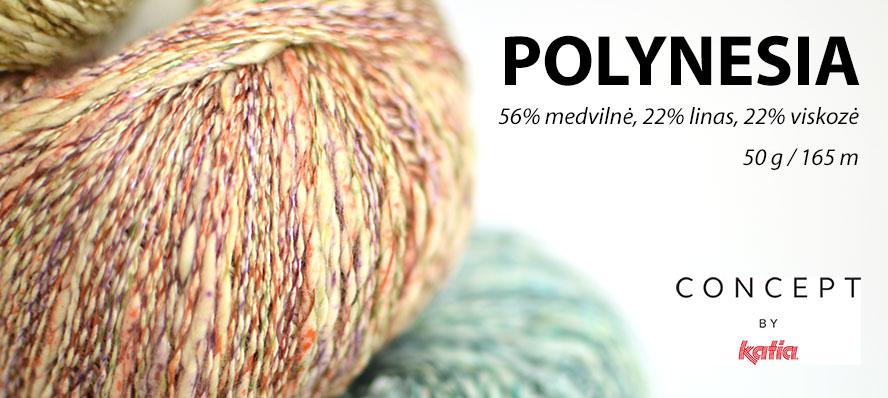 Mezgimo siūlai KATIA Polynesia (56% medvilnė, 22% linas, 22% viskozė, 50 g / 165 m)